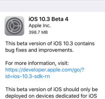 Apple rilascia iOS 10.3 beta 4 ecco changelog e link download