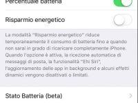 stato della batteria e prestazioni su iPhone