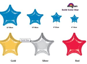 anagram solid color microfoil star balloon