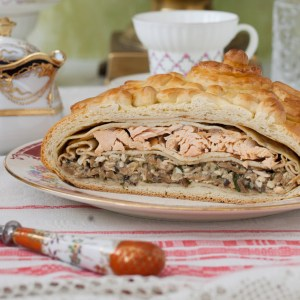 "Russian Monday: ""Kulebyaka"" - Authentic Russian Salmon Pie with Rice, Mushrooms, Onions and Dill"