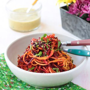 Roasted Spiral Root Vegetable Salad with Citrus Dressing