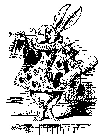 John Tenniel's rabbit illustration from Alice's Adventures in Wonderland
