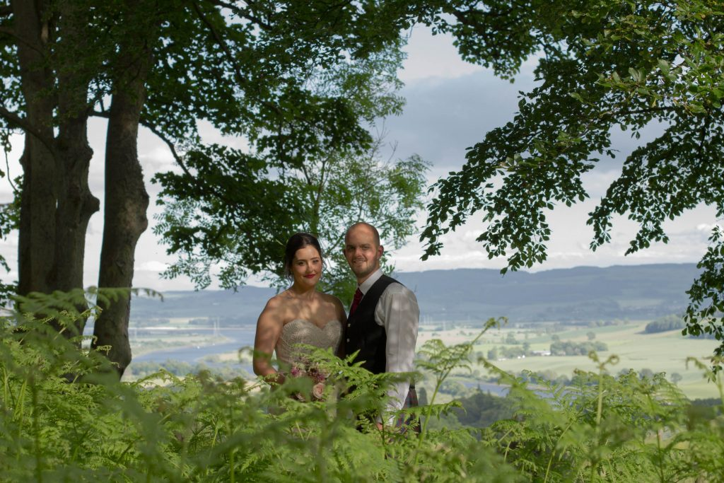 Wedding couple at Kinnoull Hill in Perthshire