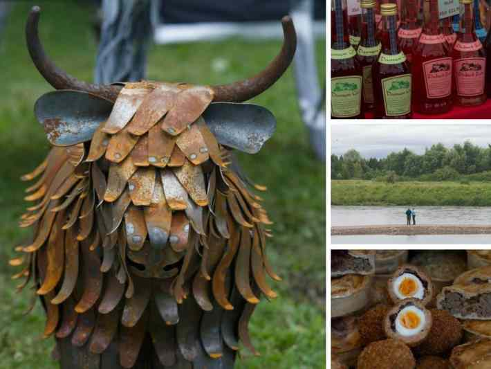 Photos of a metalic cow, Scotch eggs and people stood by a river