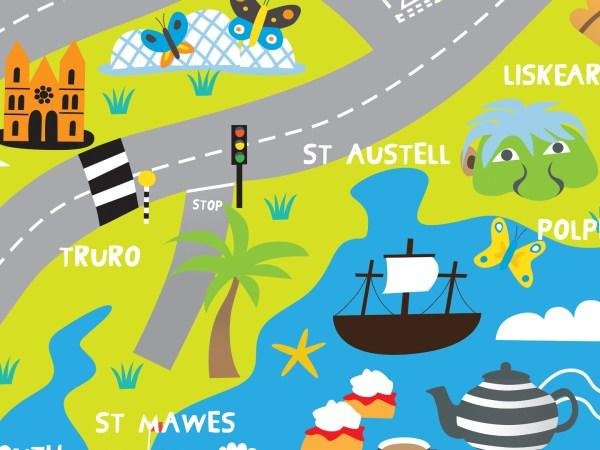 illustration of cornwall map
