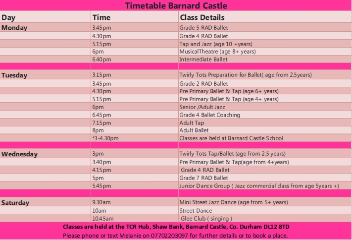 Dance Timetable Barnard Castle