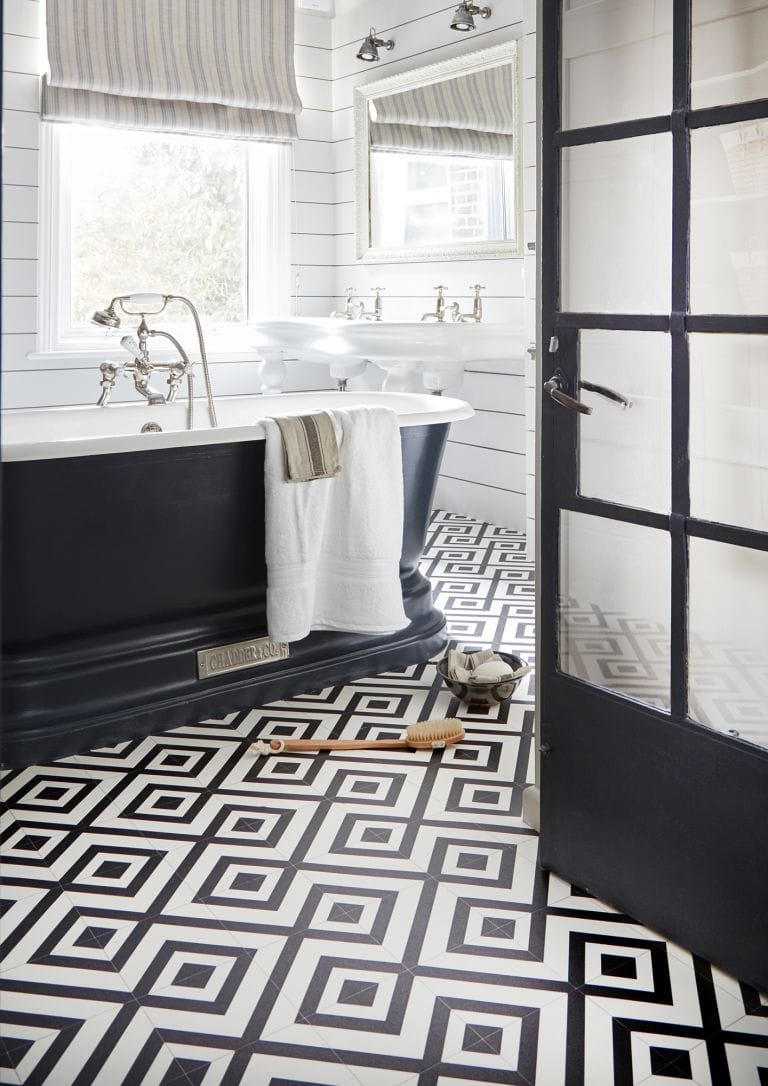 vinyl, vinyl flooring, patterned floor, patterned flooring, monochrome, monochrome bathroom
