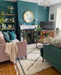 green, pink, living room, lounge, rug, velvet sofas