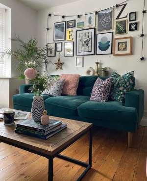 living room, lounge, green, gallery wall, green velvet sofa