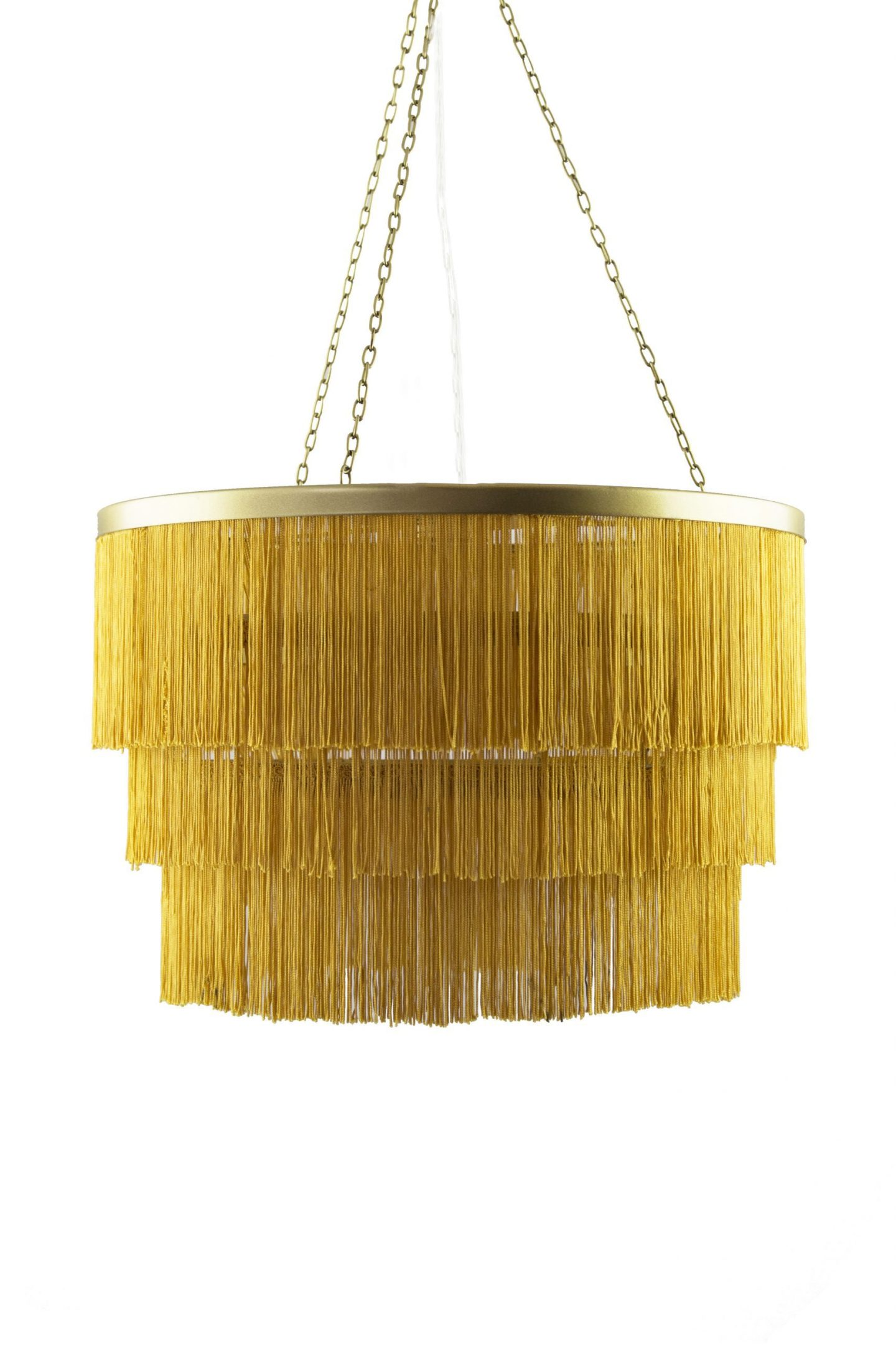 yellow fringed chandelier