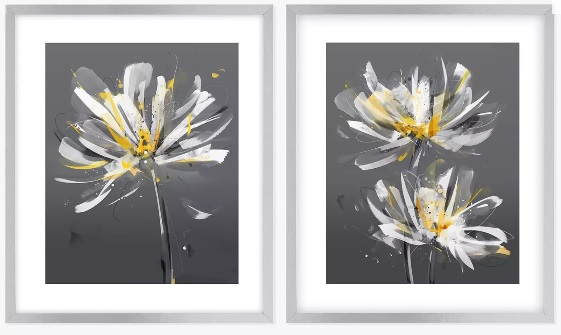 two daisy like grey and yellow prints