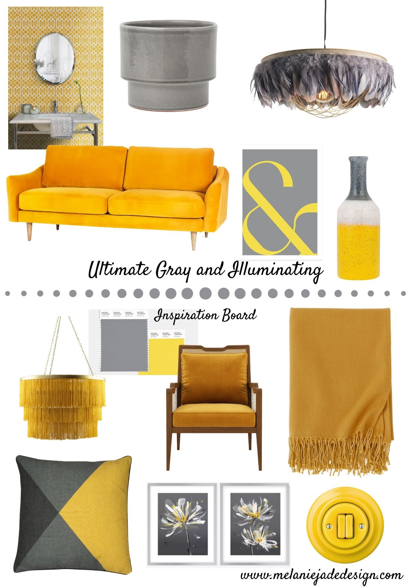 Ultimate gray and illuminating mood board