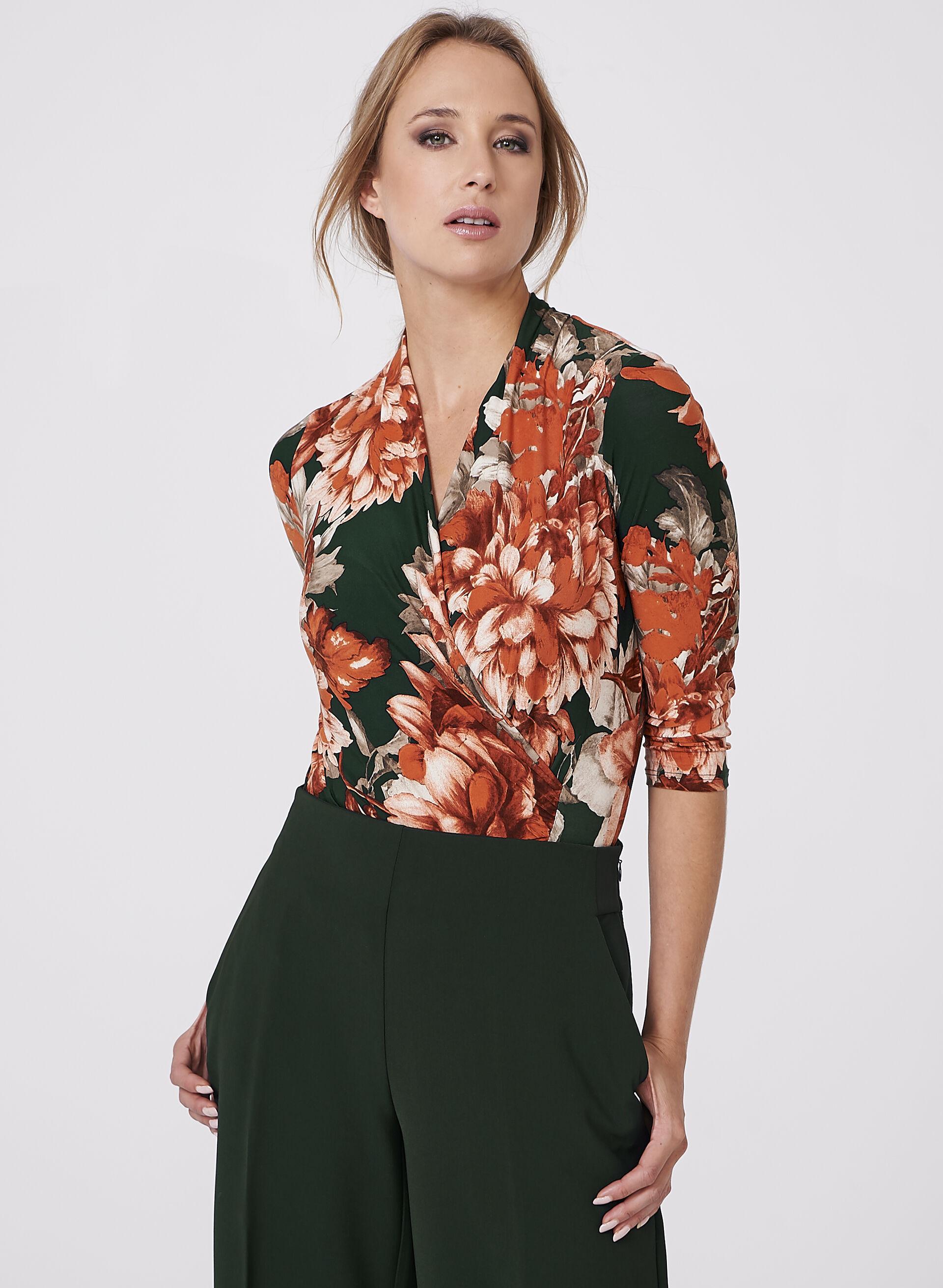 Floral Print Faux Wrap Top | Melanie Lyne
