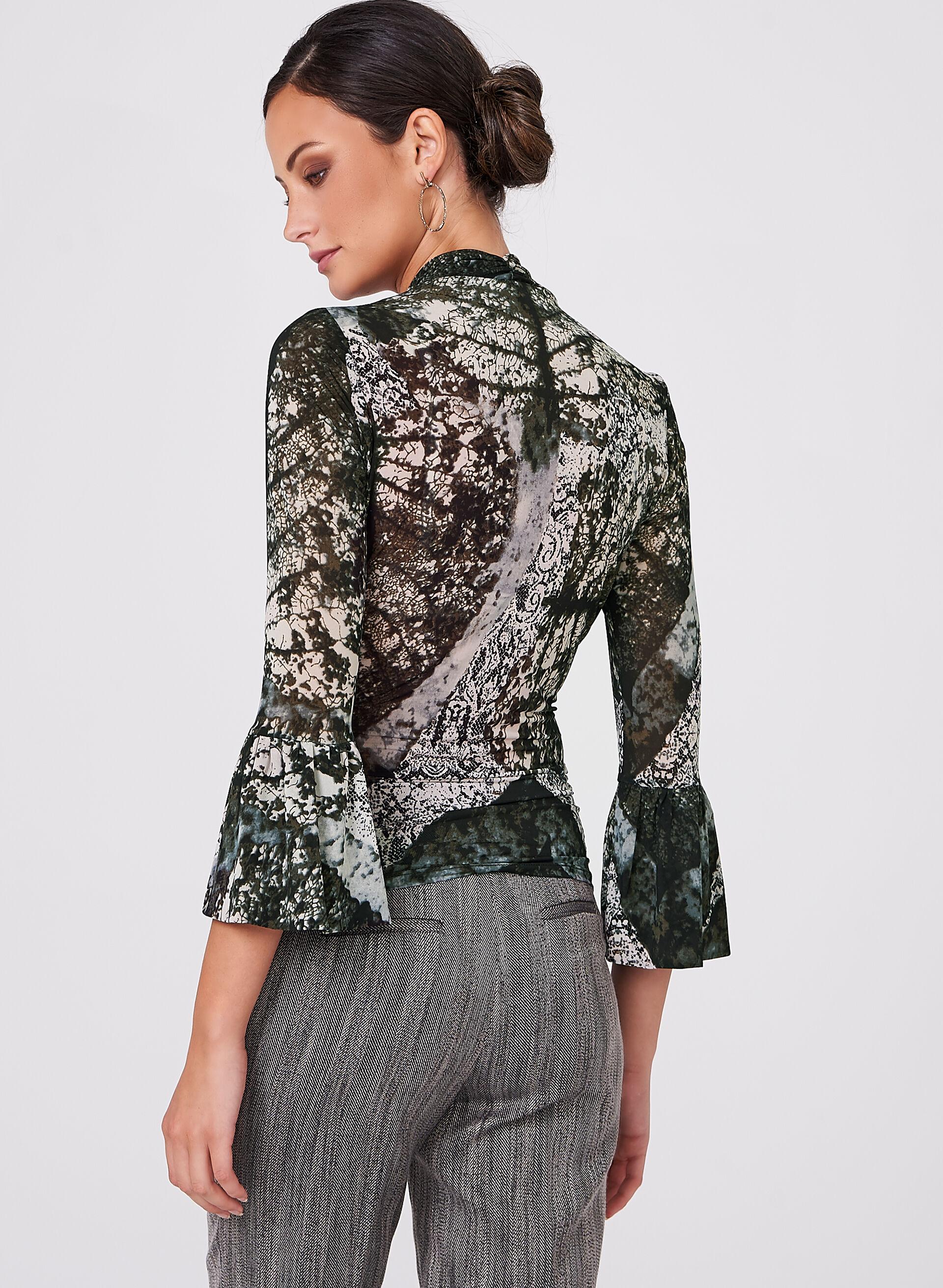 Graphic Print Faux Wrap Knit Top | Melanie Lyne