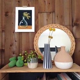 Dame-jeanne et mimosa - Tirage d'art