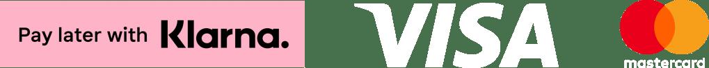 Logo av Klarna, Visa og Mastercard