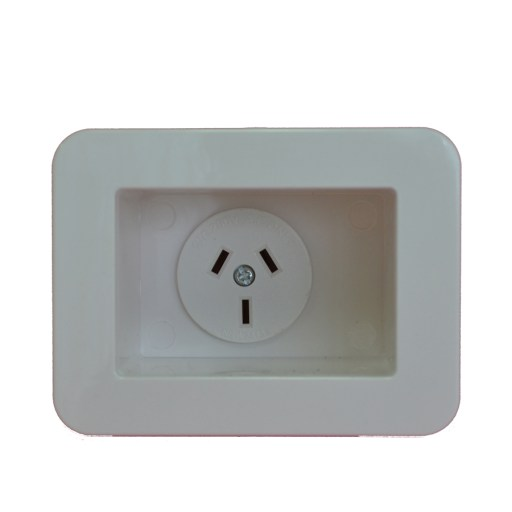 Recessed SINGLE GPO - Recessed Single Appliance Power Outlet / Point -10A 240VAC