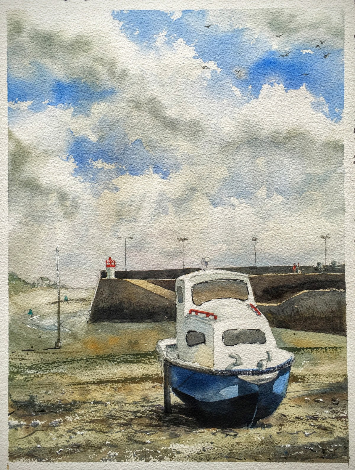 Cute blue boat painted outside Paimpol harbour, Brittany, France