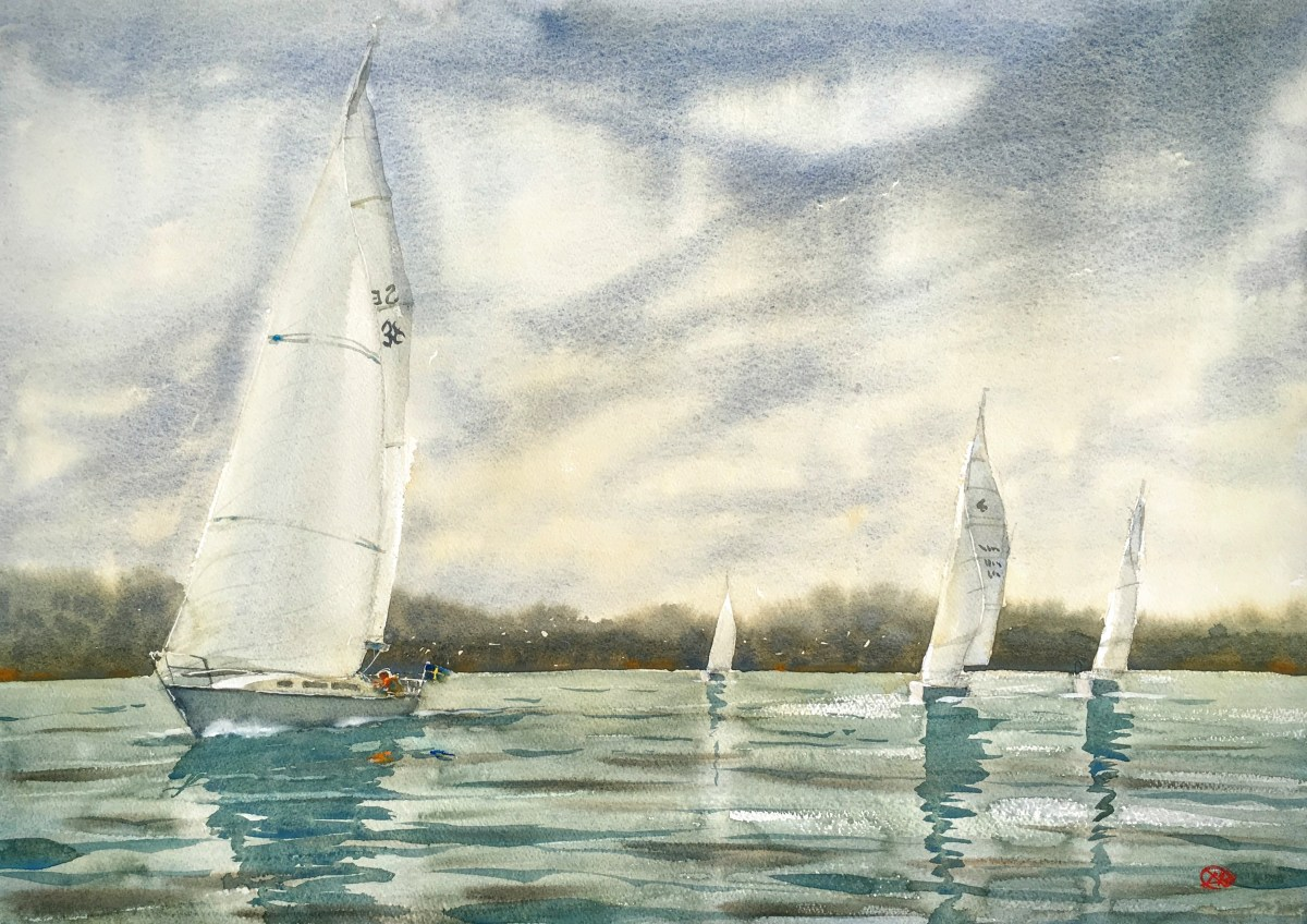 Watercolour of sailing boats in the Stockholm archipelago.