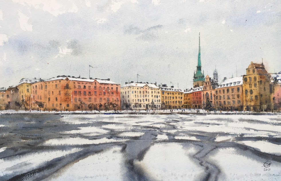 Waterclour, Winter in Stockholm by David Meldrum