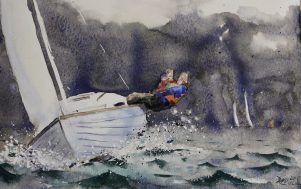 Moleskin watercolour sketch of Folkboat by David Meldrum