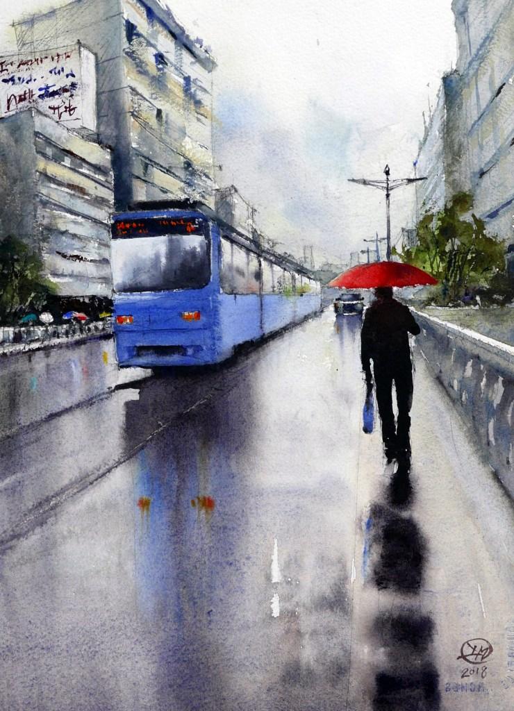 Wet day in Hiroshima watercolour