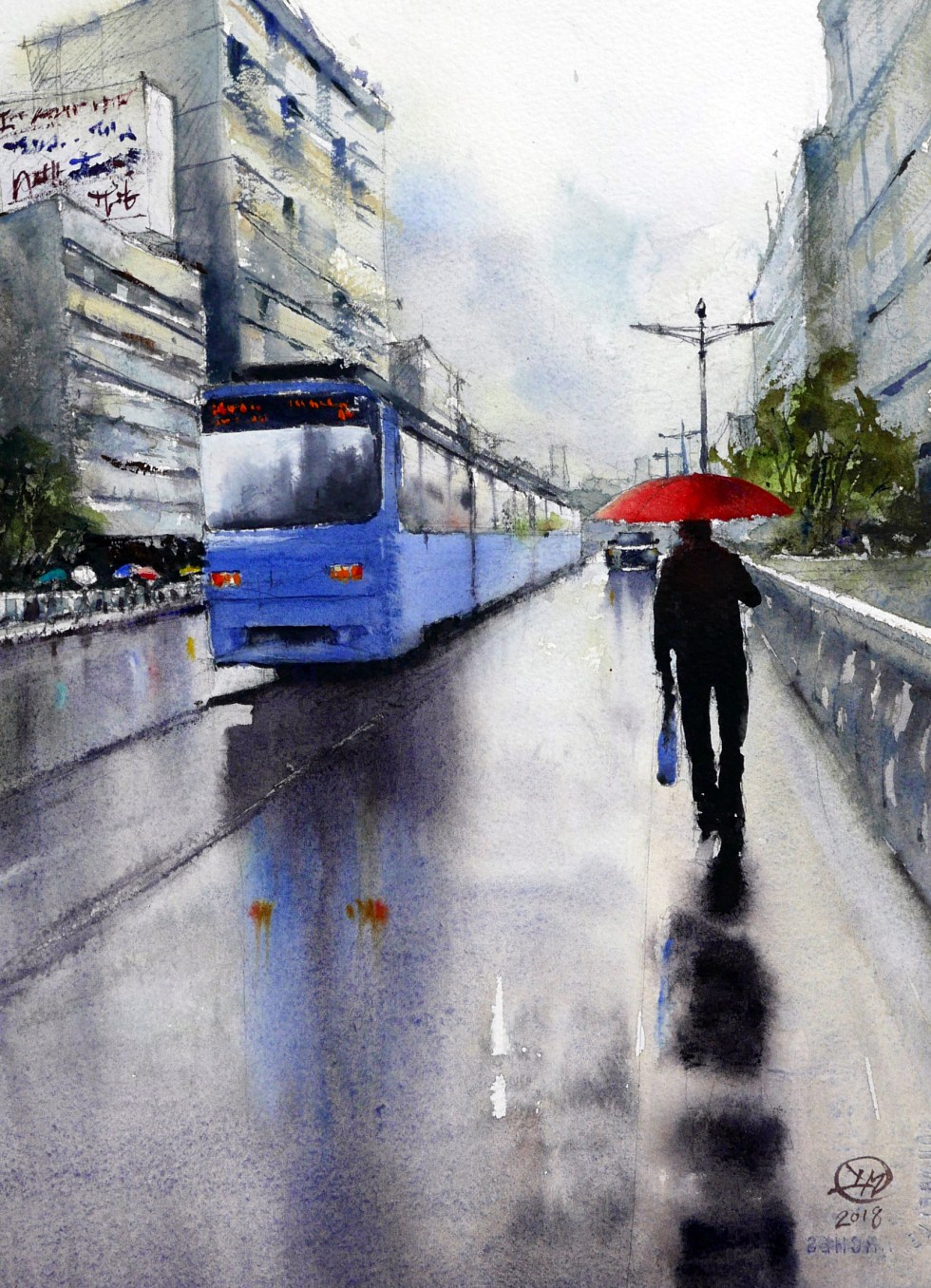 Wet day in Hiroshima watercolour