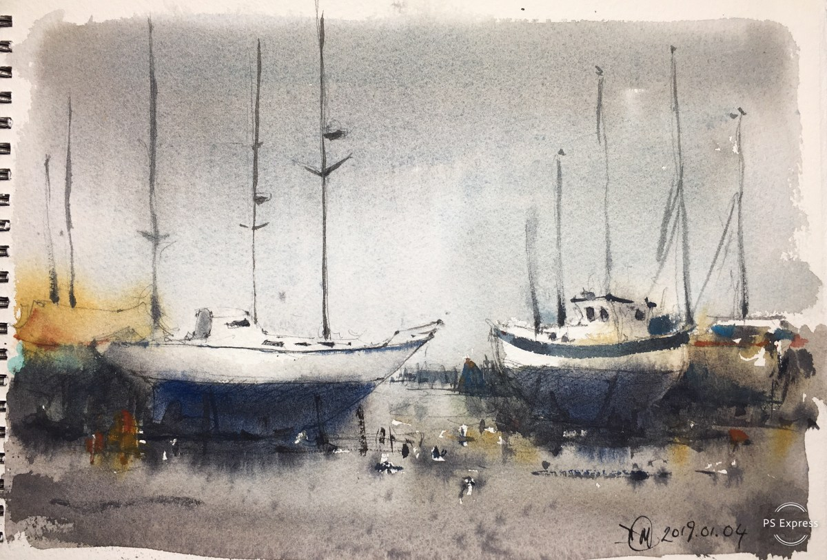 Watercolour painting on a grey day