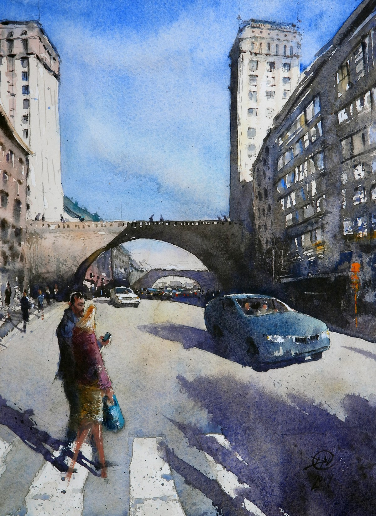 Watercolour of Kungsgatan, Stockholm