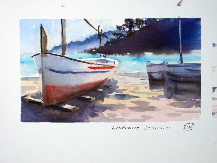 Llfranc watercolour sketch