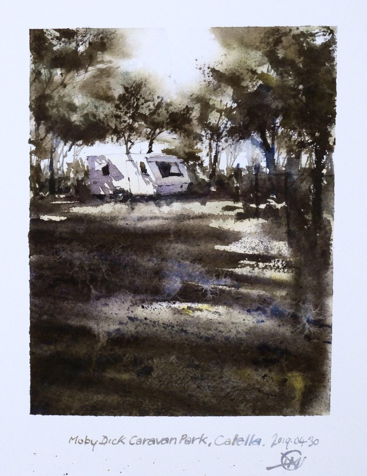 Abandoned Caravan watercolour sketch