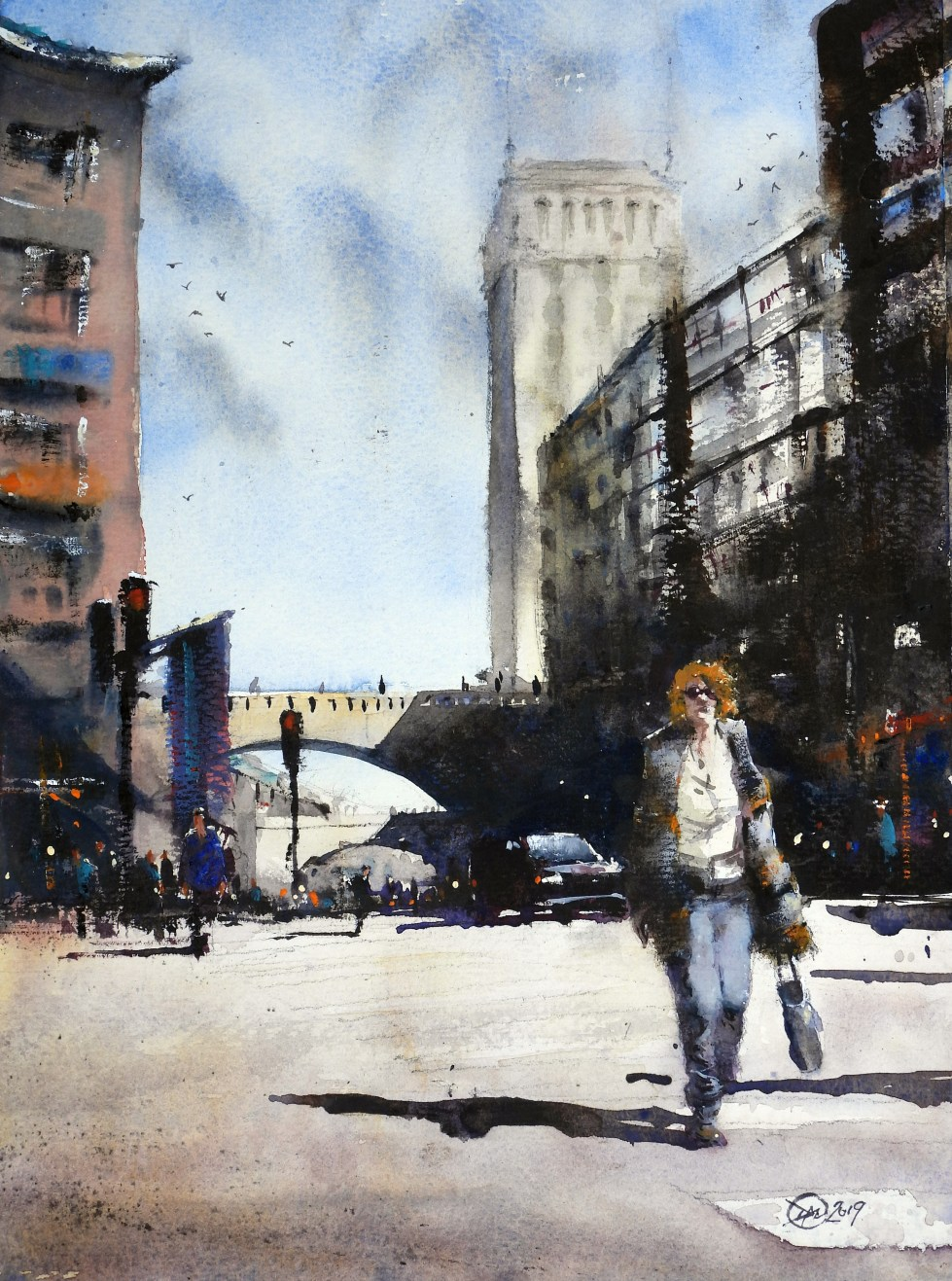 The Crossing - A watercolour by David Meldrum