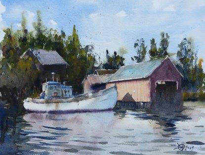 Watercolour of a Fisherman in Fiskö
