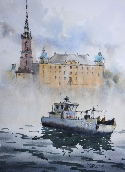 Working boat in front of Riddarholmen