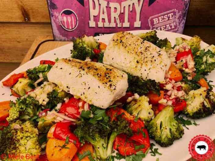 Cod with grilled vegetables