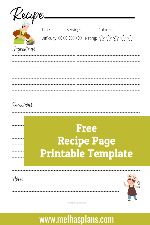 Free Recipe Page Printable Template