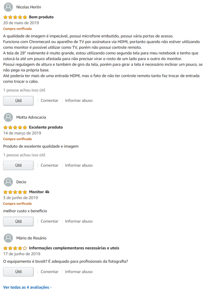 comentários e opiniões