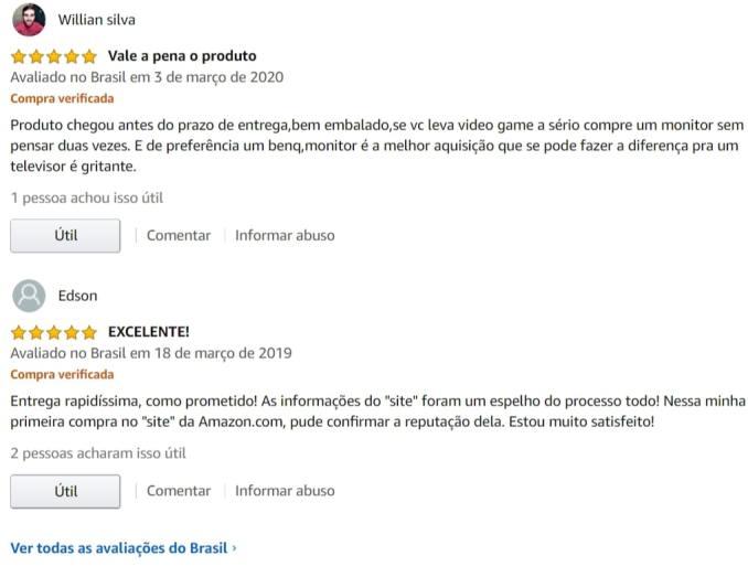 avaliações e comentários de clientes na Amazon