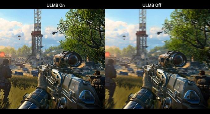 Comparação de cena com redução de Motion Blur ULMB ativado e desativado