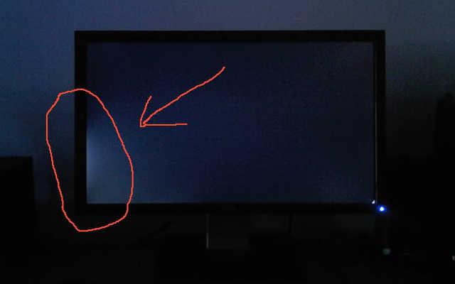 Exemplo de vazamento de luz em monitor para PC