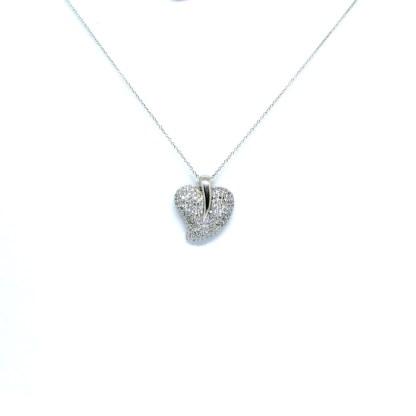 collana donna argento cuore zirconi
