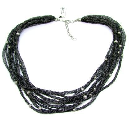 collana donna argento tessuto