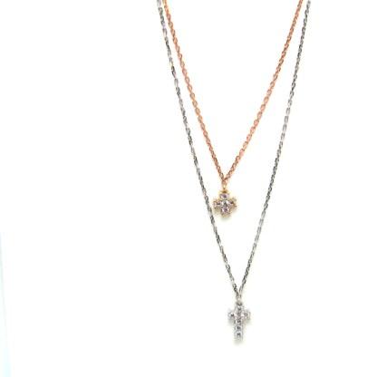 collana donna oro bianco rosa zirconi