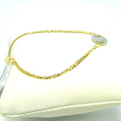 bracciale donna oro giallo e bianco targhetta oreficeria