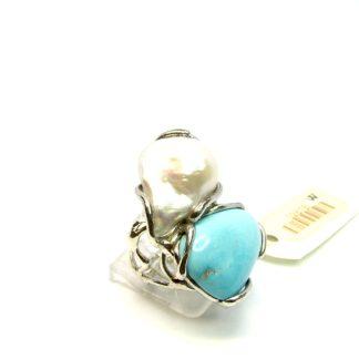 anello,donna,argento,turchese,perle,della rovere,gioielli,bigiotteria