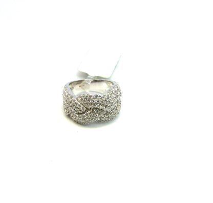anello donna argento zirconi fascia intreccio