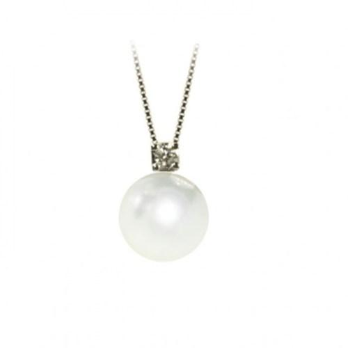 KPP124B Collana oro bianco perle di acqua dolce e diamanti Kikilia by Genesia