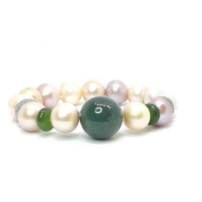 Bracciale donna con perle di acqua dolce agata e argento