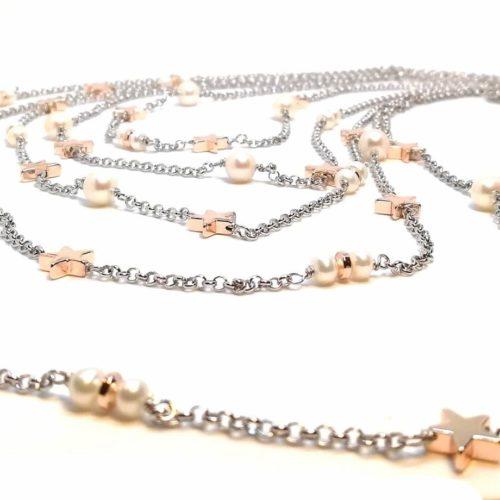 Collana donna in Argento, Argento rosè e Perle di acqua dolce Kikilia KGC388