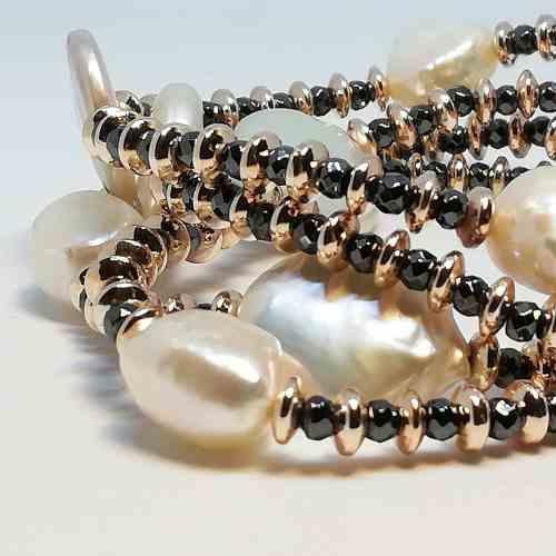 Bracciale donna in Perle di acqua dolce e Ematite Kikilia KBR395
